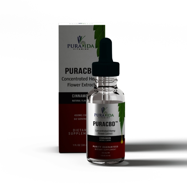 PuraCBD Tincture - 30 mL, 450mg CBD Oil, Natural Cinnamon Flavor